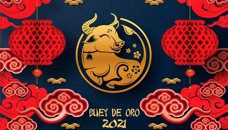 2021 ano nuevo: chino buey de oro